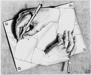 """Drawning Hands"" автор: M.C.Escher"